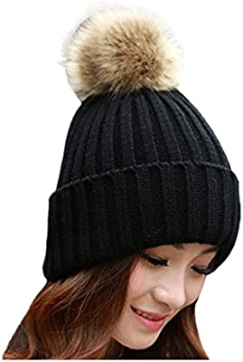 Ladies Warm Winter Chunky Bobble Beanie Hat Knitted With Pearls Xmas Pompom