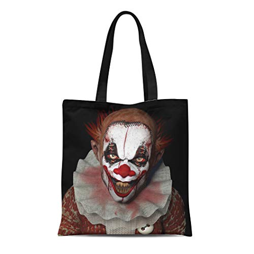 Semtomn Canvas Tote Bag Scary Scarier Clown Sharp Pointy Teeth Glaring at You Durable Reusable Shopping Shoulder Grocery Bag -