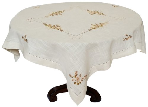 Crewel Embroidered Flowers (Xia Home Fashions Flowers Crewel Embroidered with Hemstitch Collection Cutwork Floral Table Topper, 48 by 48-Inch, Beige Linen)