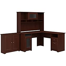 Bush Furniture Cabot L Shaped Desk with Hutch and Small Storage Cabinet with Doors in Harvest Cherry