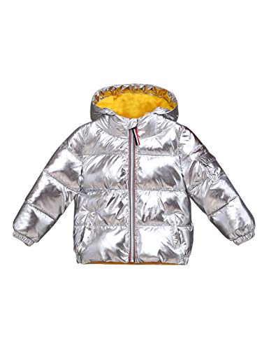 BESBOMIG Cotton Winter Snowproof Shining Quilted Silver Jacket Girls Warm Hooded Waterproof Outwear Padded Fashion Kids Boys Ultralight for Cute rrOqCwF