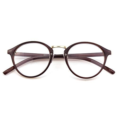Happy Store CN65 Vintage Inspired Metal Bridge Round UV400 Clear Lens Glasses for Men and Women,Brown]()