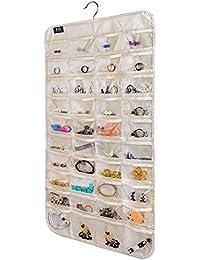 Hanging Jewelry Organizer,80 Pocket Organizer for Holding Jewelries(Beige)