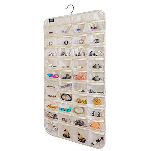 BB Brotrade HJO80 Hanging Jewelry Organizer,80 Pocket Organizer for Holding Jewelries(Beige)]()