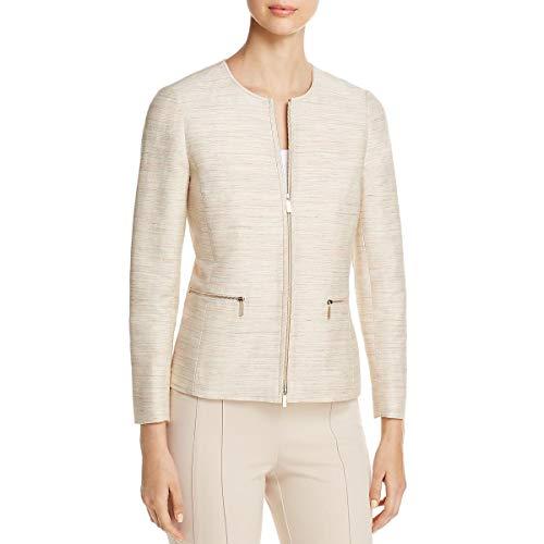 (Lafayette 148 New York Womens Kerrington Silk Textured Jacket Ivory P)