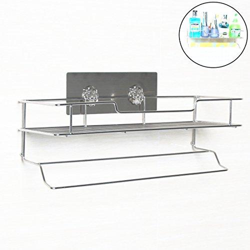 Rerii Self Adhesive Stainless Steel Bathroom Shelf Organizer
