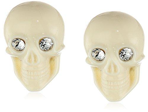 "Tarina Tarantino""Classic"" Ivory Lucite Skull Post Earrings"