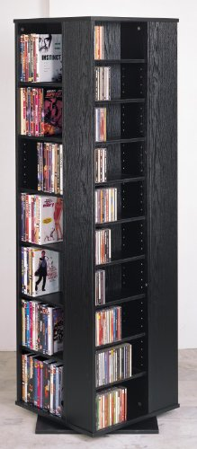 Leslie Dame CD-1040B High Capacity Spinning Multimedia Storage Tower, Black