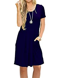 Women's Short Sleeve Pleated Loose Swing Casual Dress...