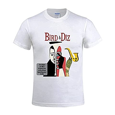 Charlie Parker Bird And Diz Men's CrewNeck Funny T-Shirt White (Heavy Metal Band Murder)
