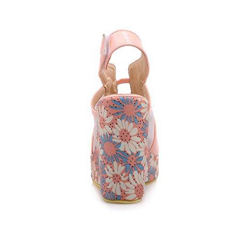 AllhqFashion Mujeres Velcro Peep Plataforma Cuero Sólido Sandalia Rosa