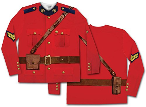 Faux Real Men's Canadian Mountie Long Sleeve Halloween Shirt, Red, (Costumes Halloween Canada)