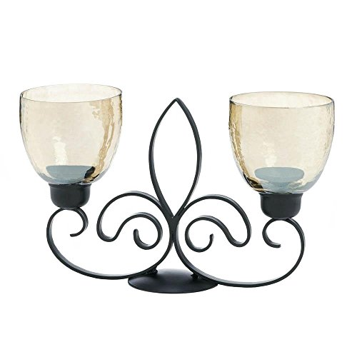 Antique Candle Holder, Fleur De Lis Centerpiece Rustic Decorative Candle (Fleur Night Light)
