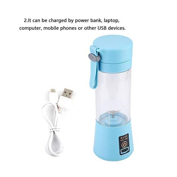 Nitrip USB portatile rosa/azzurro elettrico elettrico succo frullatore macchina succo estrattore doppia lama(Cielo blu) 4 spesavip
