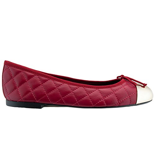 Bailarinas Ella Pas Red Quilted Ballerina Flat c3GrDR0