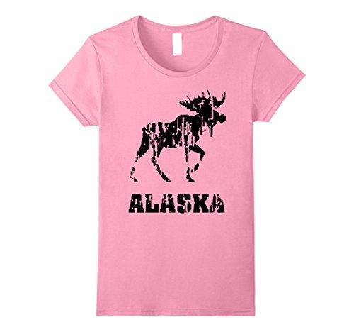 [Womens Alaska State T-shirt The Last Frontier Alaska Home Shirt Small Pink] (Alaska Womens Pink T-shirt)