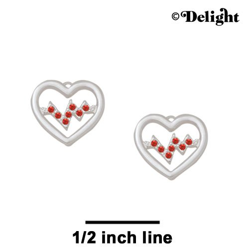 Stud Earrings Small Red Crystal Heartbeat 1 Pair