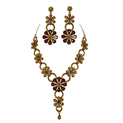 Jewelshingar Antique Gold Plated Cubic Zirconia Stones Necklace set For Girls ( 81040-nz ) by Jewelshingar