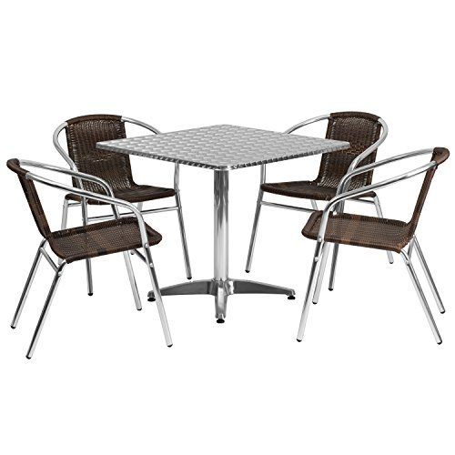 Flash Furniture 31.5'' Square Aluminum Indoor-Outdoor Table Set with 4 Dark Brown Rattan Chairs (Commercial Rattan Outdoor Furniture)