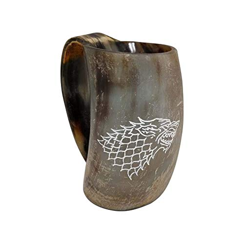 AleHorn Genuine Custom Engraved Viking Drinking Horn Cup Tankard Beer Mead Ale Medieval Stein Mug Handcrafted Ox Goblet Game of Thrones Heroes Food Safe Vessel with Handle 100 Lifetime Warranty ()