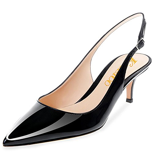 Image of Kmeioo Kitten Heels Pumps, Pointed Toe Slingback Sandals Ankle Strap Low Heel Pumps Evening Party Wedding Shoes 6.5CM