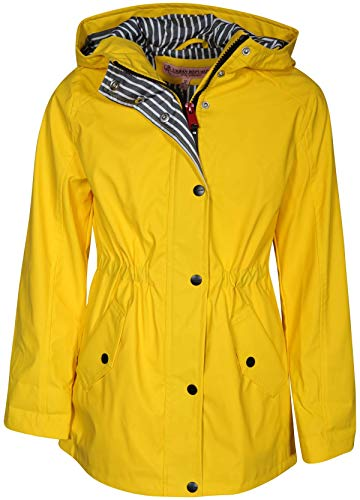 Urban Republic Girls Anorak Vinyl Raincoat with Hood and Cinched Waist, Soft Yellow, Size 10/12'