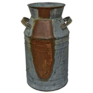 Milk Can - 10-3/4  Galvanized Finish - Country Rustic Primitive Jug Vase by H.S.