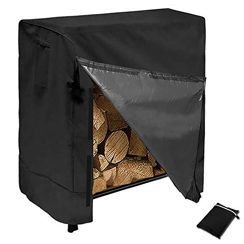 HOMEYA Firewood Log Rack Cover, 4 Feet Heavy Duty 600D Waterproof Patio Dry Wood Pile Holder Tarp Cover Windproof Outdoor Snow Rain UV Resistant for Garden Backyard with Storage Bag (Patio Covers Closed)