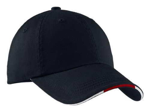 (Port Authority Signature Sandwich Bill Cap with Striped Closure, Classic Navy/ Red/ White, OSFA)