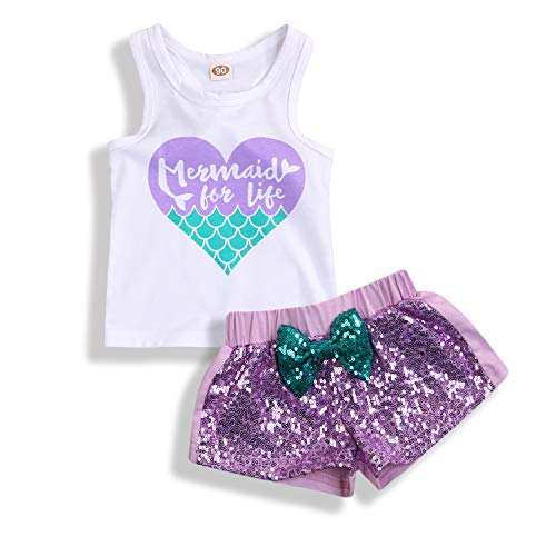 2Pcs Baby Girls Mermaid Outfits Heart Letter Printed Vest Tops Sequin Shorts Summer Clothes Set (12-18 Months, White & Purple)]()