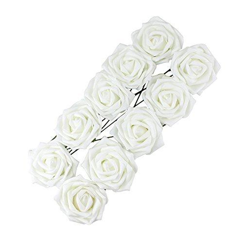 Hosaire 10pcs Bouquet de Mariage Fleurs Artificielles Rose en dé coration pour Mariage Maison Fê te Soiré e et Grandes banquet-Blanc