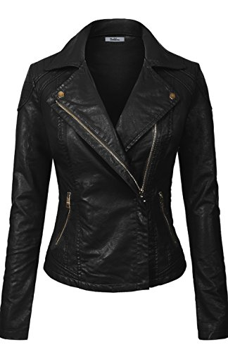 BodiLove Women#039s Slim Tailoring Faux Leather Zipper Moto Biker PU Bomber Jacket Black M
