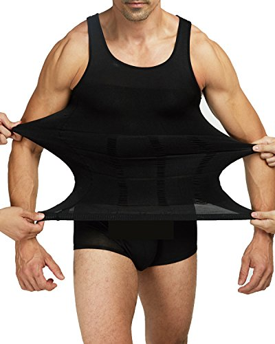 Shaxea Mens Slimming Body Shaper Vest Shirt Tank Top Compression Shirt, Shapewear For Men (S, Black) by Shaxea