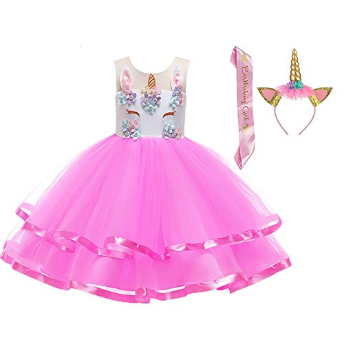 LZH Girl Unicorn Flower Dress Birthday Party Cosplay Costume Pageant Princess Dresses Rose Red