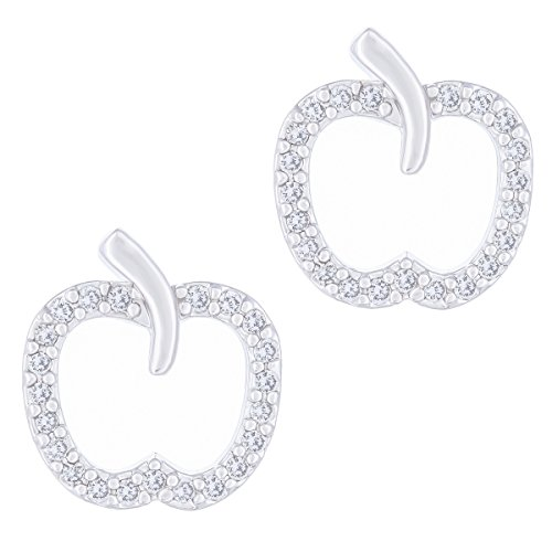 ORROUS & CO Legacy Collection Womens 18K White Gold Plated Cubic Zirconia Apple Stud Earrings, One Size