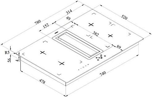 Luna 78 cm acero inoxidable extractor de contador/422 m3/h motor con cristal negro inducción: Amazon.es: Grandes electrodomésticos