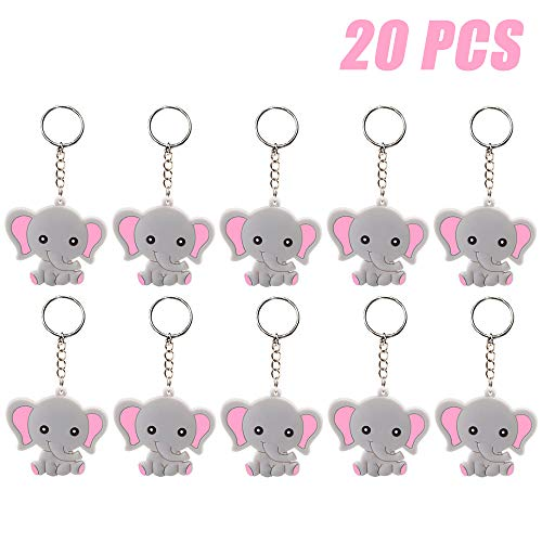 Baby Shower Ornaments (Finduat 20 Pcs Pink Baby Elephant Keychains for Elephant Theme Party Favors Pendant, Birthday Party Supplies, Baby Shower Favors Girl Party Favors for Kid Toy Ornament Souvenirs)