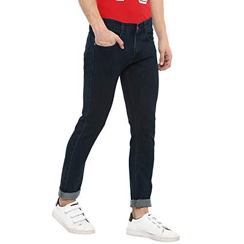 Urbano Fashion Men's Dark Green Slim Fit Denim Jeans Stretchable