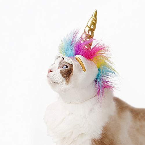 Unicorn Costume for Cats, Horn Headdress Wig Pet Dress Up -