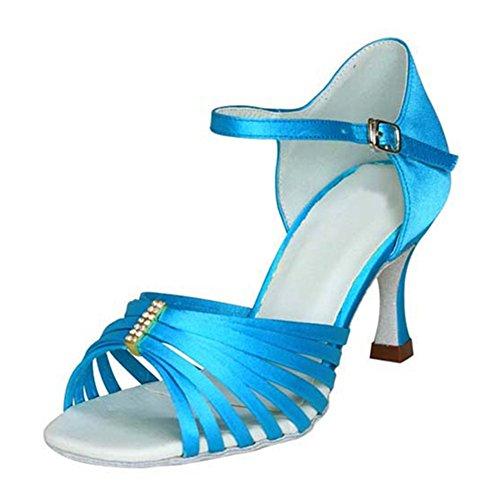 GUOSHIJITUAN Mujer S Satén Zapatos De Baile Latino,Fondo Blando Tacón Alto Salsa Tango Zapatos De Baile Social Interiores Sandalia Azul