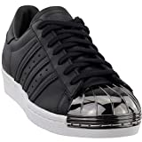 adidas Womens Superstar 80S Metal Toe Casual Sneakers, Black, 9.5