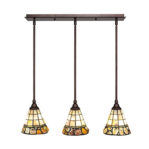 - Toltec Lighting 25-BRZ-9735 3 Multi Light Mini Pendant with Hang Straight Swivels Shown in Bronze Finish with 7-Inch Cobblestone Tiffany Glass