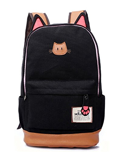 Moolecole LMoolecole Leather & Canvas Backpack School Bag Laptop Backpack with Cat's Ears Design,Set with 1pc Wallet (Black)