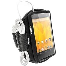 iGadgitz Black Neoprene Sports Gym Jogging Armband for LG Google Nexus 4 E960 Android Smartphone Mobile Phone
