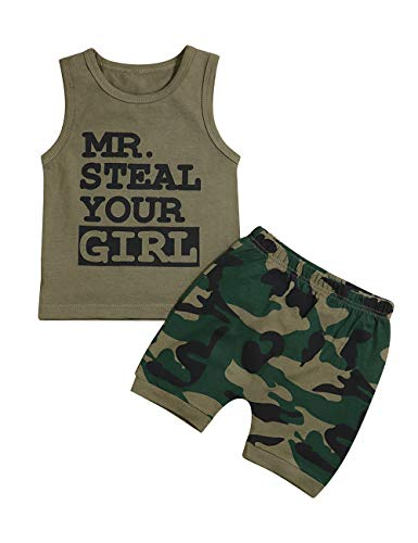 Toddler Baby Infant Boy Clothes Mr Steal Your Girl Vest +Camouflage Shorts Summer Outfit Set 18-24 Months]()