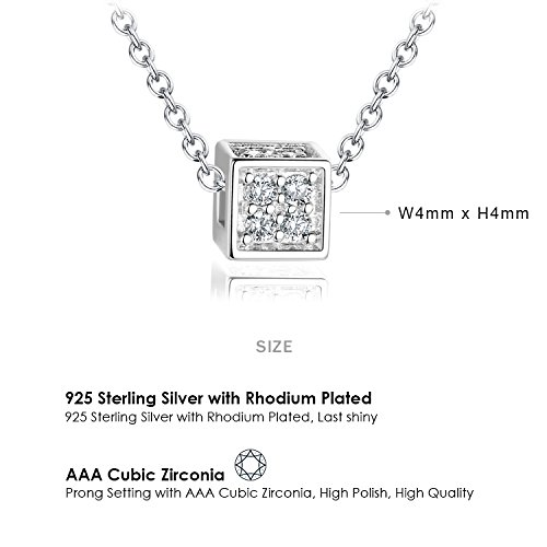 Ashley Jeweller Sterling Silver Cubic Zirconia Cube Pendant Necklace For Childrens Teens 18