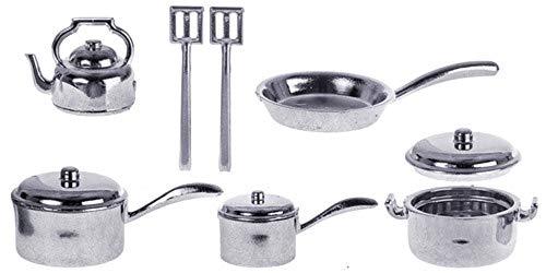 - Dollhouse Miniature 10-Pc. Chrome Cookware Set