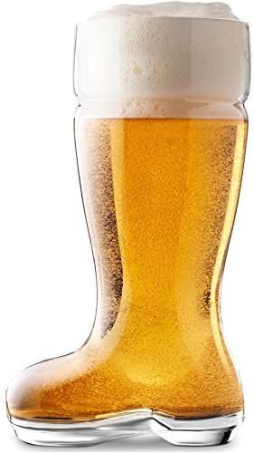 Circleware 55667 Circleware Das Boot Set of 2 Huge 1 Liter Glass Beer Mugs Drinking Glasses, Clear, 1 Liter (1 Glass Of Beer)