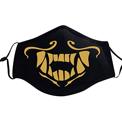 Shancon Cosplay Mouth Mask Mouth-Muffle Gold Pattern Adjustable Cotton Dust-Proof Black Winter Warm Adult Unisex Halloween 2018 -