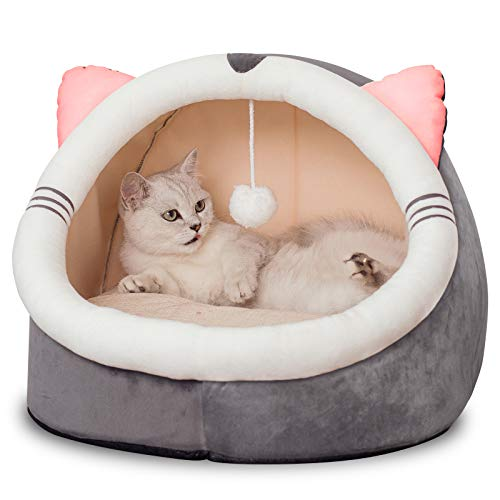 Domipet Cat and Small Dog Bed with 5-inch Thick Inner for Indoor Anti-Slip and Water-Resistant Bottom Durable Fabric…